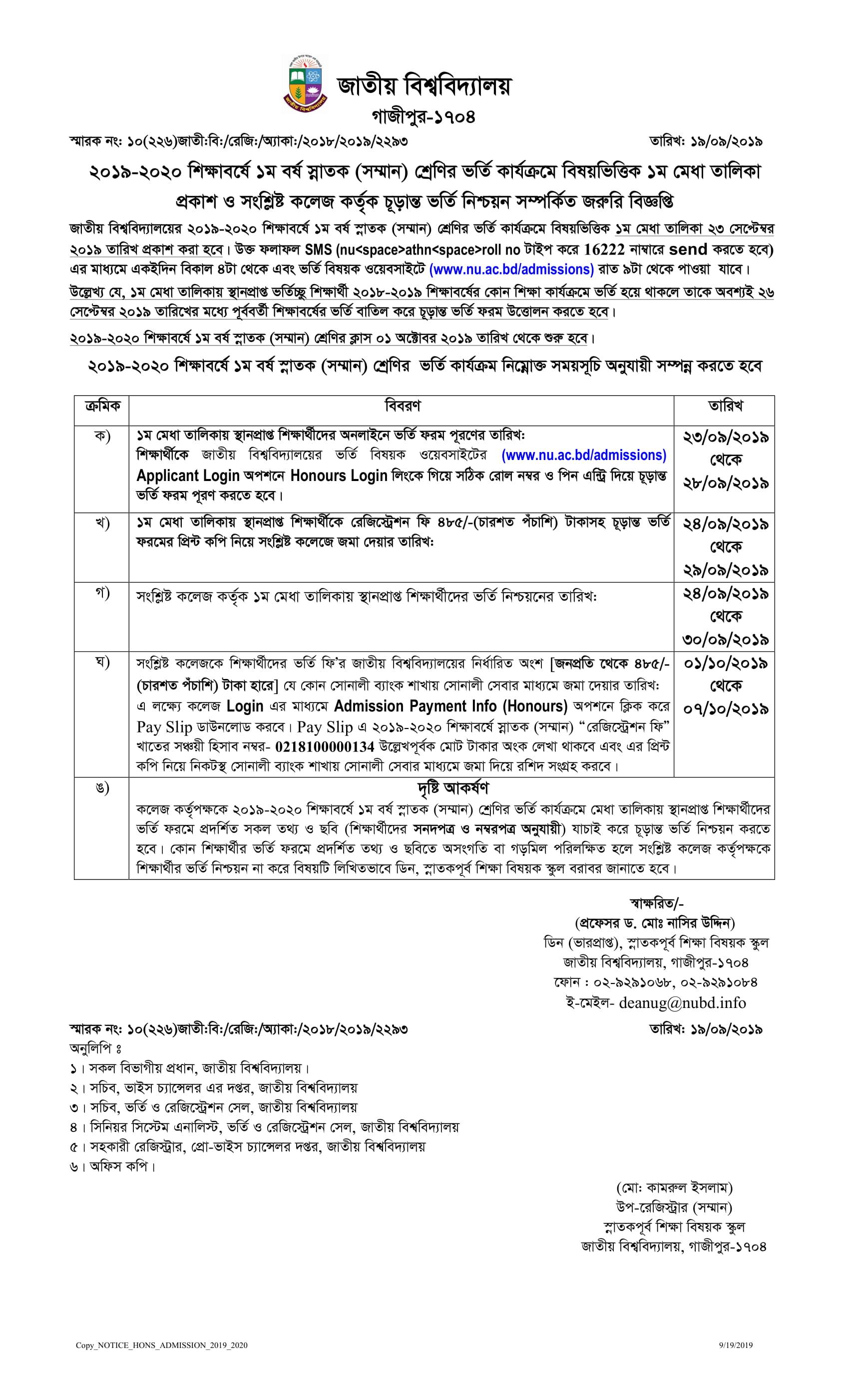 nu admission result 2019