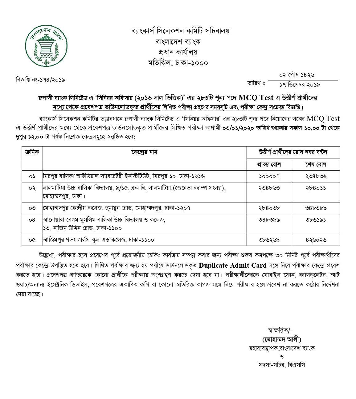 Rupali Bank Senior Exam Result 2019 PDF