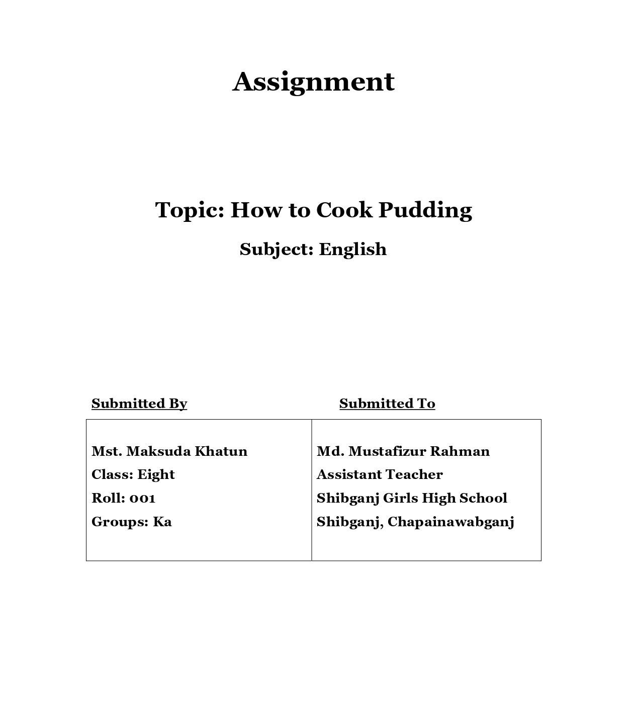assignment cover